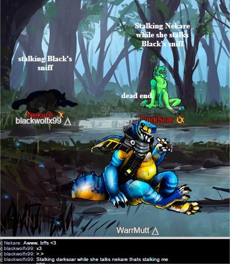 Nekare, Darkscar, WarrMutt, and Black (Chatlands)